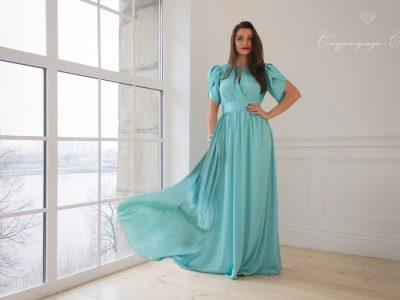 Монако Шелковистое платье, мятного цвета