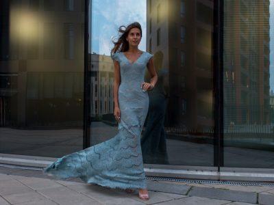 Русалка Кружевное платье цвет холодная мята,длинное платье с рукавом