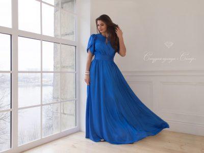 Монако шелковое платье, василькового цвета