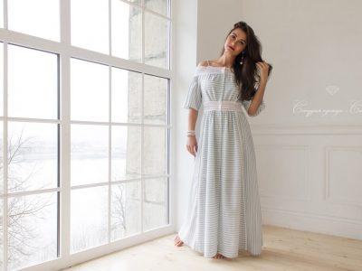 Платье из льна отделка кружевом из хлопка в стиле бохо