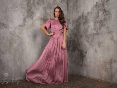 Монако шелковое платье, цвет пудра