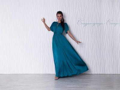 Монако шелковое платье, цвет морской волны.