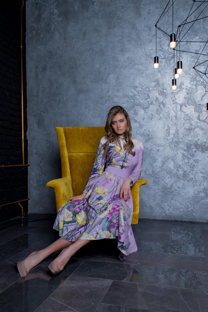 Желтые маки платье миди в русском стиле